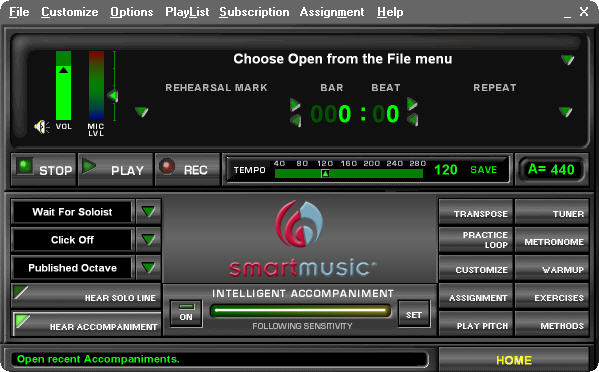 SmartMusic 10.2 Usual Interface